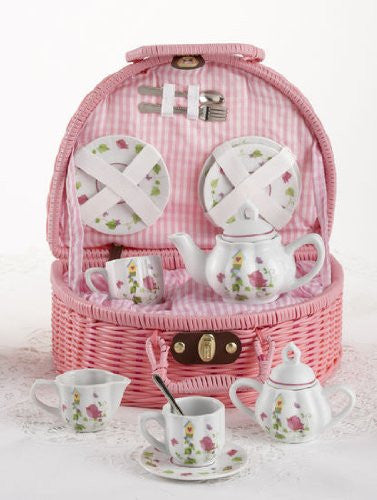 Large Pr'l Tea Set in Basket, Bird House