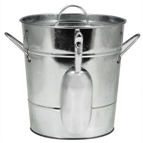 Country Home Galvanized Ice Bucket (with scoop) in galvanized silver finish, packed 8 per master carton, each individually polybagged.