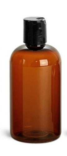 Amber PET Boston Round Plastic Bottle 8oz w/ Black Disc Cap