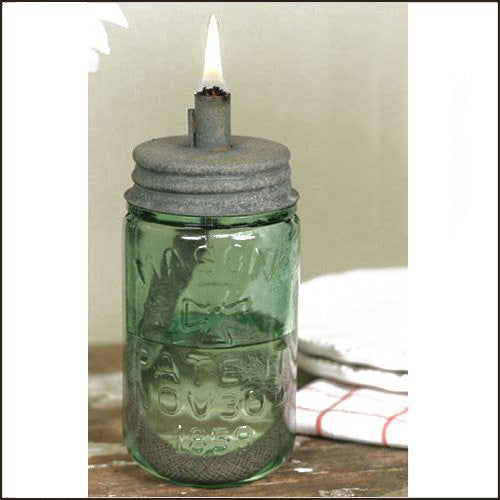 Mason Jar Oil Lamp Lid - Barn Roof - Lid Only