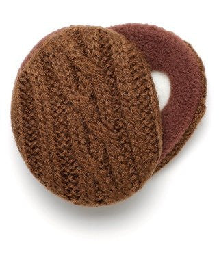 Earbags Cable Knit with Thinsulate, Brown, Medium