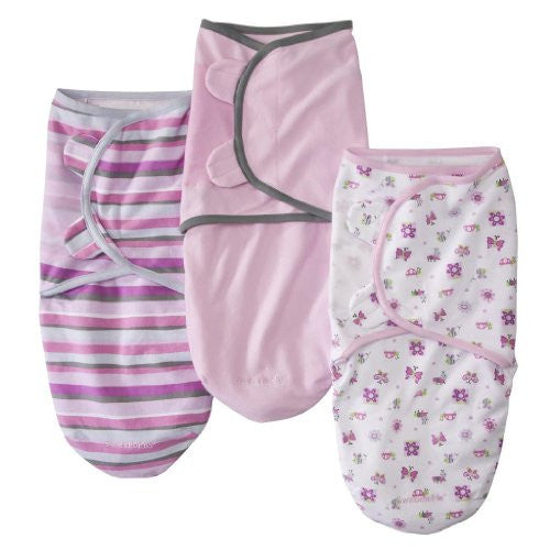 SwaddleMe®, 3-Pack Cotton (Small/Medium) Girly Bug/Stripe/Pink