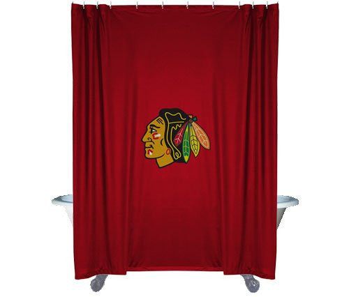 SHOWER CURTAIN  Chicago Blackhawks - Color Bright Red - Size 72x72