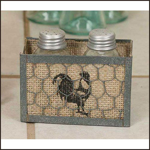 Chicken Wire Burlap Salt and Pepper Caddy - Rooster