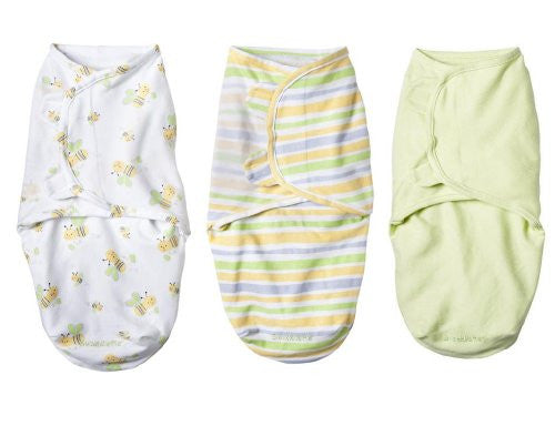 SwaddleMe®, 3-Pack Cotton (Small/Medium) Natural Bee/Stripe/Sage