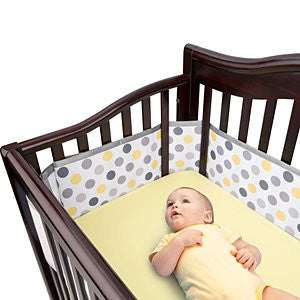 Breathable Mesh Crib Liner Deluxe - Neutral Gray Dot