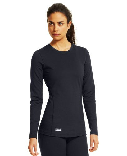 UA Women's Coldgear Infrared Tactical Crew - Dark Navy Blue, Medium