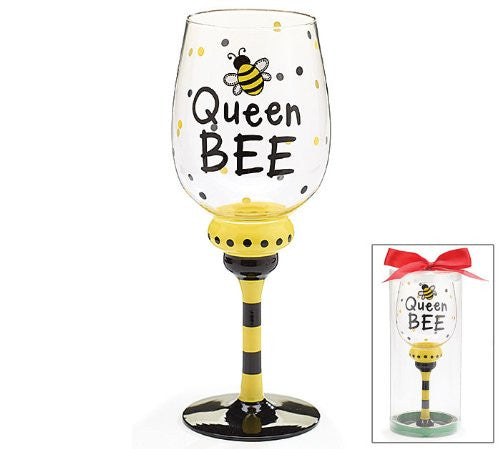 WINE GLASS QUEEN BEE