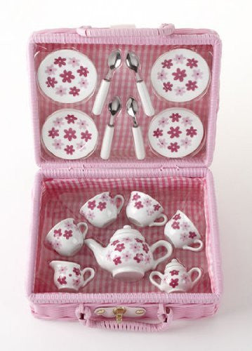 Pr'l 17 Pcs Tea Set in Basket, Pink Daisy