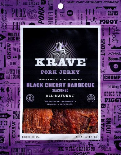 KRAVE Jerky Black Cherry Barbecue Pork Jerky, 3.25 Ounce