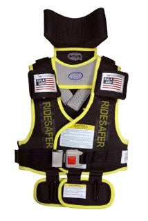 Ride Safer2 Travel Vest (Large, Black With Yellow Trim)