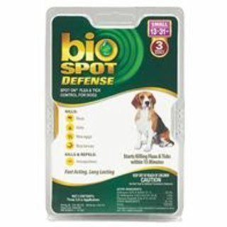 Bio Spot Defense Flea & Tick Spot on for Dogs, 6 Month, 13-31 Pounds