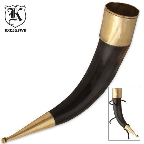 Natural Horn Drinking Horn with Brass Cap 15 Inch