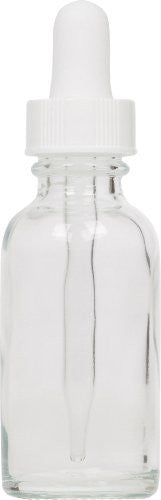 Clear Boston Round Glass Bottle 1 oz w/ White Dropper