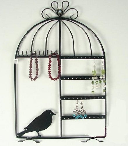 Black Birdcage Jewelry Organizer - Wall Mount or Desk Top