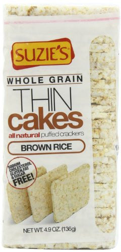 Thin Cakes Puffed Brown Rice, Unsalted 4.9 OZ (Pack of 3)