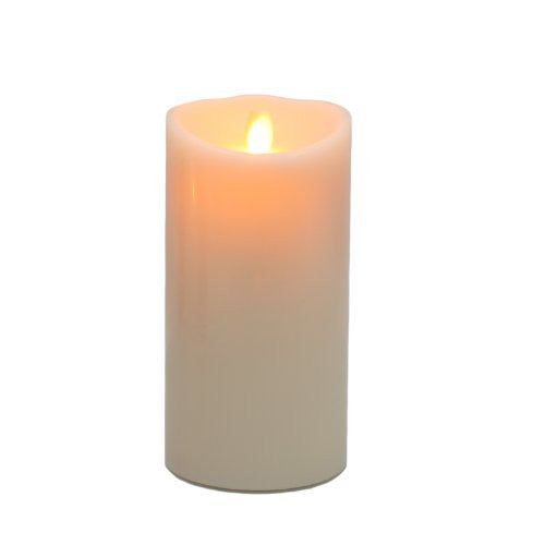"Remote Ready 4"" x 9"" Ivory Wax Flameless Moving Wick Candle With Timer by Luminara for LampLust"