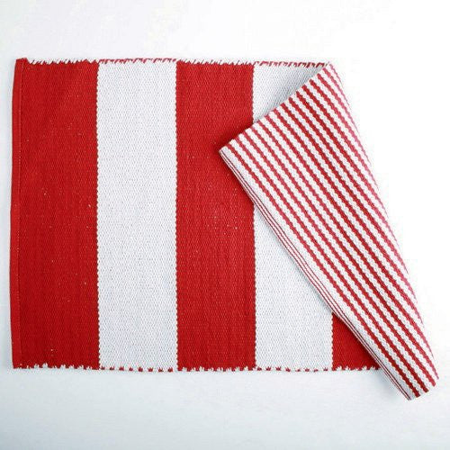 "CLIFF STRIPE RED COTTON RUG-36""l x 24""w"