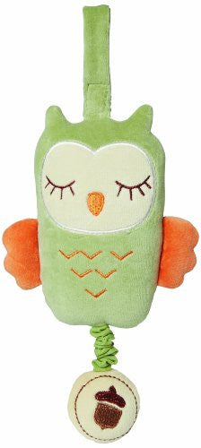My Natural Owl Musical Pull Toy, Green