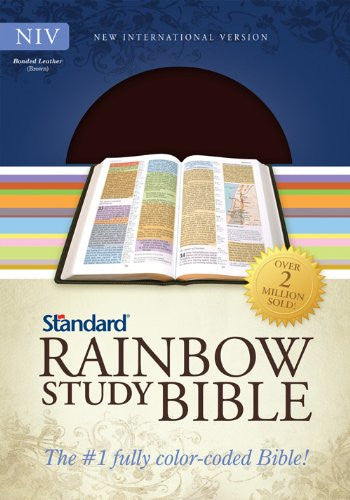 NIV Standard Rainbow Study Bible, Brown Bonded Leather