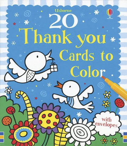 20 Thank You Cards to Color