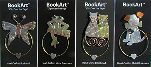 (4 Piece Bundle Pack) Butterfly Clip-Over-The-Page Bookmark and Frog Clip-Over-The-Page Bookmark and Meow Love Cats Clip-Over-The-Page Bookmark and Dog & Bone Clip-Over-The-Page Bookmark