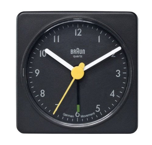 Braun Square Analog Travel Alarm Clock Black