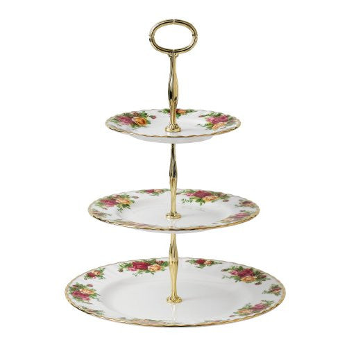 OLD COUNTRY ROSES CAKE STAND THREE-TIER