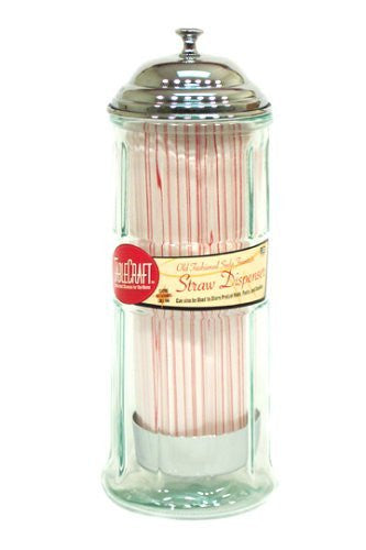 Glass Straw Jar w/straws, Chrome Plated Metal Top