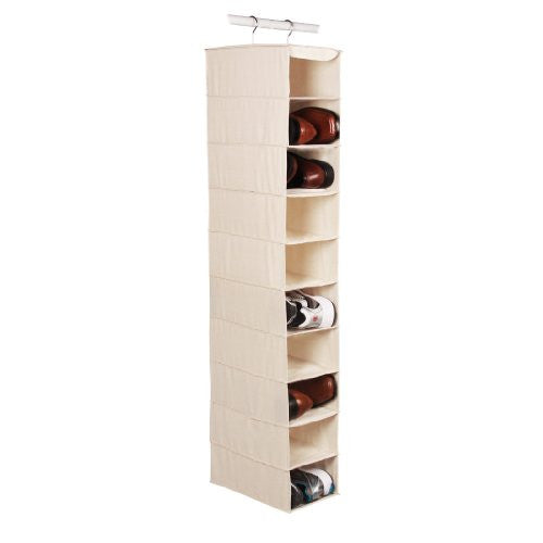 Canvas Natural 10-shelf Athletic/Mens Shoe Organizer