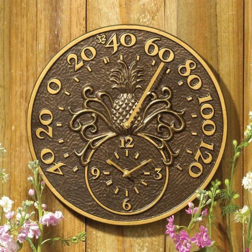 Whitehall Pineapple Clock & Thermometer, French Bronze, 14""