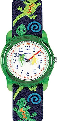 Kid's Analog Green/Blue Gecko Elastic Fabric Strap Watch