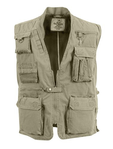 Khaki Deluxe Safari Outback Vest - Medium
