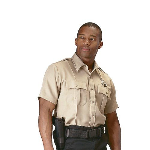 Khaki Short-Sleeve Uniform Shirt - Large