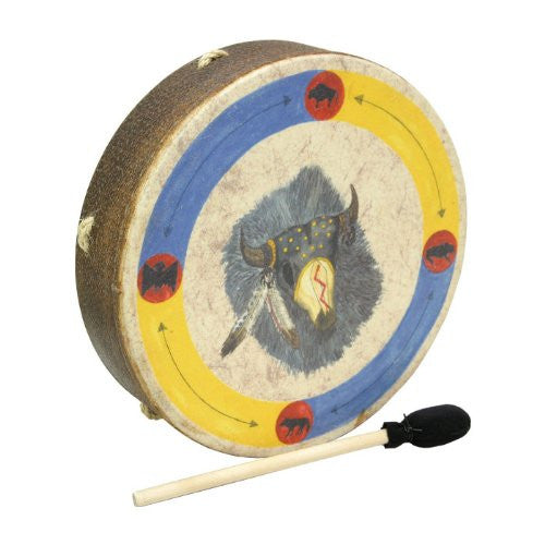 Buffalo Drum with Buffalo Image Graphic, 14-inch