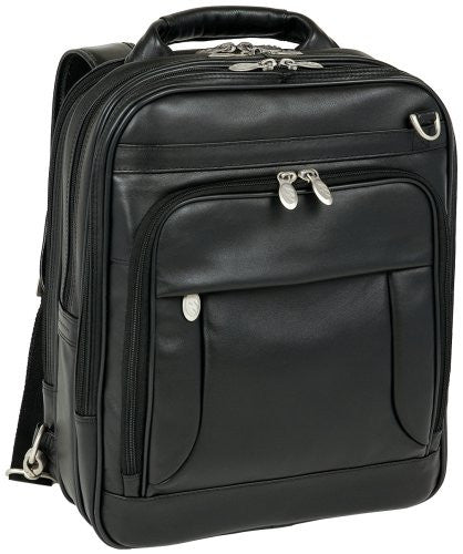 *LINCOLN PARK Leather Three‐Way Computer Briefpack Black