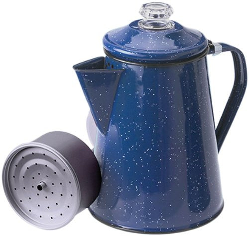 ENAMEL COFFEE POT 8 CUP BLUE