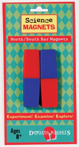 North/South Bar Magnets - 2 Red/2 Blue