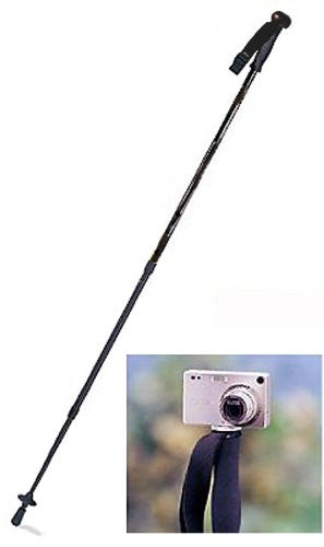"Twist-lock lightweight aluminum telescopic pole extends from 29'' up to 63"". EVA foam grip with ball knob: Integrated camera mount on top; Carbide tip; Rubber end cap, snow disc, compass, thermometer and adjustable nylon wrist strap. 12oz. Black"