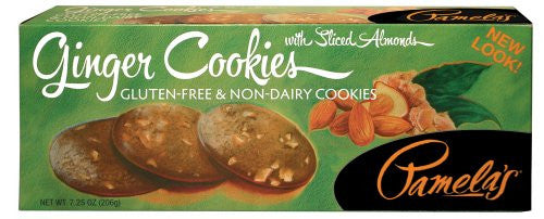 Pamela's Products Gluten Free Cookies, Ginger with Sliced Almonds, 7.25-Ounce Boxes (Pack of 6)