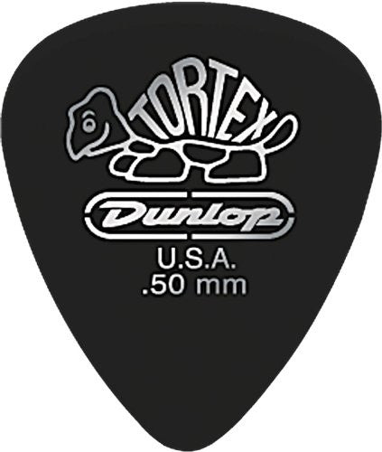 Dunlop 488R50 .50mm Tortex Pitch Black Guitar Picks, 72-Pack