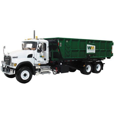 First Gear Waste Management - Mack Granite Roll-Off Refuse Truck (1/34 scale diecast model car, White)