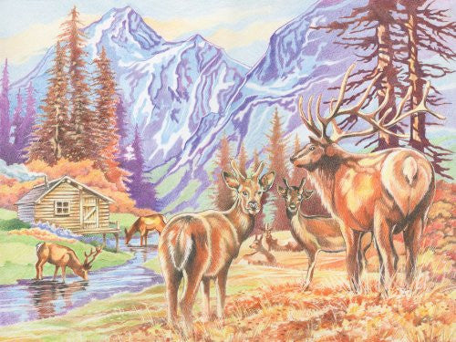 Reeves Colored Pencil by Numbers Set MOUNTAIN WILDLIFE