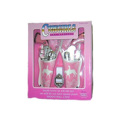 Western Girl Double Pistol With Holster, Pink In Color, Shoots Roll Caps, Boxed