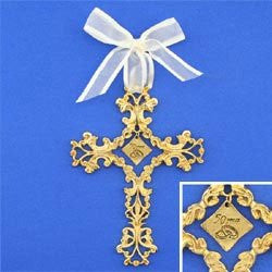 50 Years Gold plated filigree cross with ivory ribbon Adorned with topaz stones