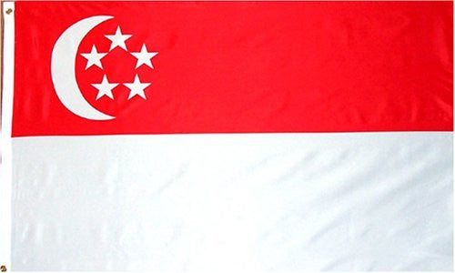 Singapore National Country Flag - 3 foot by 5 foot Polyester (New)