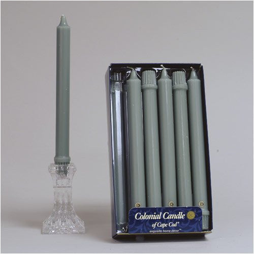 "Colonial Green 10"" Classic Dinner Candles, Box of 12"
