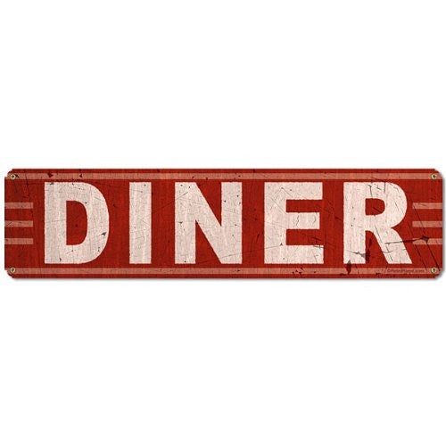 Diner metal sign measures 20 inches by 5 inches