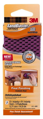 Flexible Finishing Pad, Detail 400 2.25 in x 5.75 in 3/pack