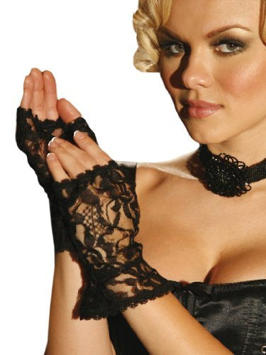 Lace Fingerless Gloves - Black